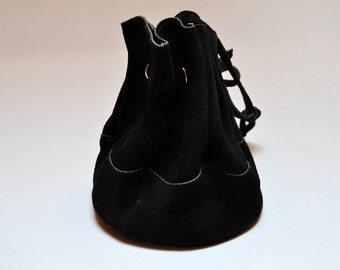 Vintage Small Black Suede Drawstring Tote Floral Print Leather Bucket Bag Pouch
