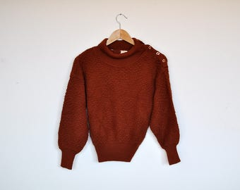 Vintage 80s Brown Popcorn Knit Jumper Avant Garde Crop Pullover Sweater
