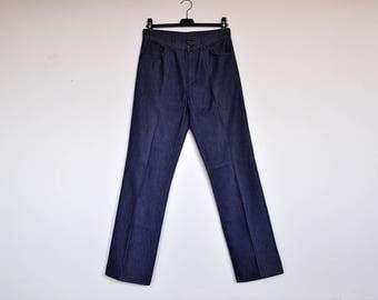 Vintage Levis High Waisted 70s Trousers Boot Cut Indigo Blue Denim Pants Mint Condition 32 X 34