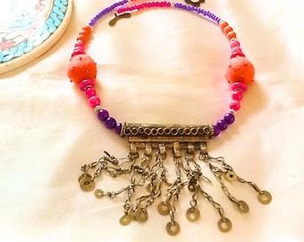 Tribal KUCHI gypsy necklace , bohemian gypsy necklace with KUCHI dangles , belly dance necklace with dangles , gypsy nomad necklace