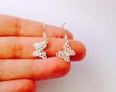 Silver butterfly earrings, butterfly hook earrings, nature earrings, dangle earrings, girl butterfly jewelry - Sterling Silver (925)