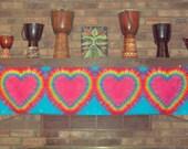 Heart Tie Dye Tapestry, wall hanging, long scarves, tie dye wall poster