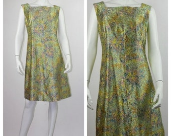 HOLIDAY SALE 1960's Gold Lurex A-Line Dress with Multi-Coloured Swirl  // Gold Swing Dress // Mod Dress // Gold Lamé 60's Dress // Size 10 t