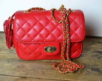 Vintage Koret Lipstick Red Leather Chain Strap Shoulder Bag