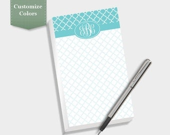 Quatrefoil Note Pad, Custom Notepad, Personalized Notepad