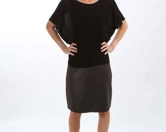 Black Tunic like Top Loose with Bat Sleeves - made from lightweight semi-sheer viscose jersey knit