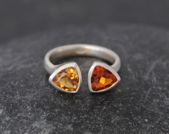 Trillion Statement Ring - Citrine Double Stone Ring - 2 Stone Citrine Ring - Multistage Ring - Made to Order FREE SHIPPING