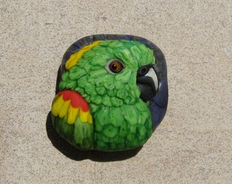 LG. Chuffed Yellow Napped Amazon Parrot - Glass Flamework Sculpture Bead - SRA