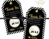 Graduation Printable Tags, Black and Gold Tag, Personalized Graduation Tags, Thank you Tags, Graduation Favor Tags, Open House Tags, #101816
