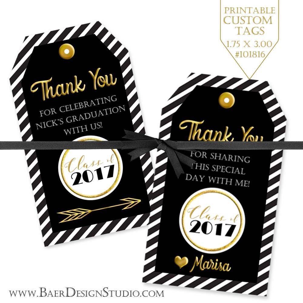 graduation printable tags black and gold tag personalized. Black Bedroom Furniture Sets. Home Design Ideas