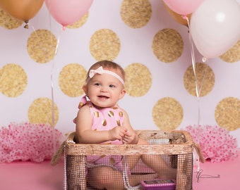 8ft x 8ft Vinyl Photography Backdrop / Gold Glitter Polka Dots / Custom Photo Prop
