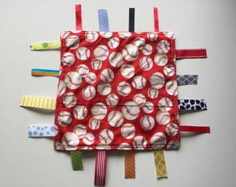 Red baseballs Tag Blanket with your choice of Minky //  In Stock, READY TO SHIP