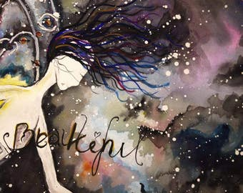 Art Print: Her Strength - Watercolor Print, Fairy, Broken Heart, Beautiful, Strength, Faith, Space, Invincible, Woman, Power, Inspirational