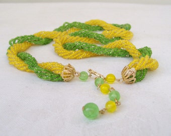 """Twisted SEED BEAD NECKLACE Yellow and Green Glass Beads Made in Japan Mid Century 19"""" Multi Strand Toursade"""