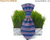 EASTER SALE Patriotic stripe dog neck tie - Nautical stripe