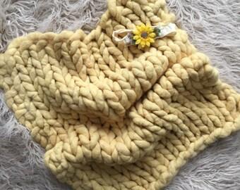 Organic Alpaca luxury knit big squish Prop set in Sunshine YELLOW, hand dyed, 1 headband, wool fluff/burlap