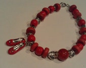 Dorothy's Slippers, Bold Red  Bracelet, Valentine Gift, No Place Like Home, Charmed  Bracelet, Wood, Acrylic & Antiqued Silver Bracelet