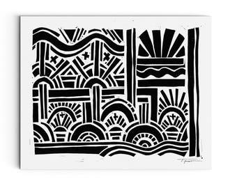Geometric Arches and Waves - Modern Art - Wall Art - Linocut Block Print - Digital or Original Print