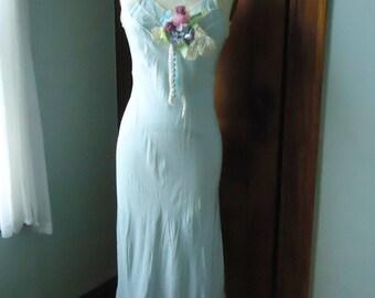 SALE Vintage Blue Slip Dress, Vintage Slip, Flower Decorated, Pale Blue Satin Taffeta Slip Vintage Lingerie, Boho Bohemian Wearable Intimate