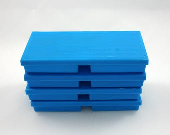 Vintage 1970s blue plastic slide boxes, small item storage, desk, office, craft, paperclip, pin container, box, organization