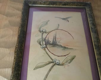 French vintage original watercolor and Pencil drawing Art Nouveau with mistletoe and bee , Hand painting