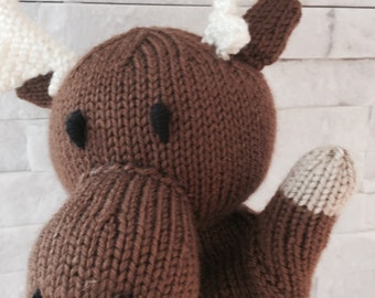 Knit moose puppet, knit hand puppet moose, knit glove puppet, knit puppet moose, plush moose toy puppet, glove puppet moose, moose hand knit