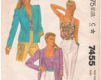 1981 - McCalls 7455 Vintage Sewing Pattern Size 14 Bust 36 Made For You Jacket Camisole Button Down Notch Collar Pleated Cap Bias Cami
