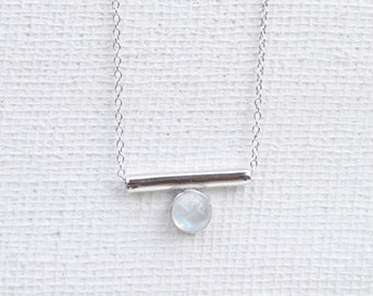 NEW Bar - Moonstone in Silver Necklace, Bridesmaids Gift, Gifts for Her