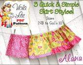 Girl's Skirt Pattern pdf. Girl's Clothing Pattern. Toddler Skirt Pattern, pdf Sewing Pattern. Baby Skirt Pattern.  3 Skirt Styles. Alana