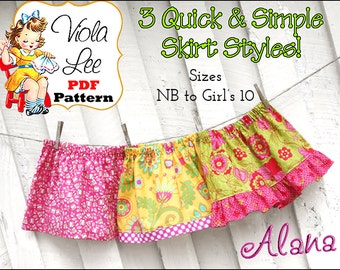Girl's Skirt Pattern pdf. Girl's Clothing Pattern. Toddler Skirt Pattern, pdf Sewing Pattern. Baby Skirt Pattern.  3 Skirt Styles. Alana
