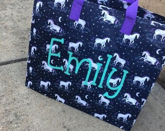 SALE!! Personalized Monogram Unicorn Tote Storage Bag