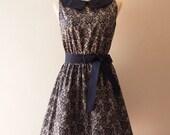 50% Off Sale Vintage Style Dress Dark Blue Summer Dress Lace Print Sundress Club dress Collar Sleeveless Bridesmaid Tea Party Dress