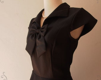 Black Cap Sleeve Dress Skater Skirt Vintage Style Working Formal Casual Dress Little Black Dress, XS-XL