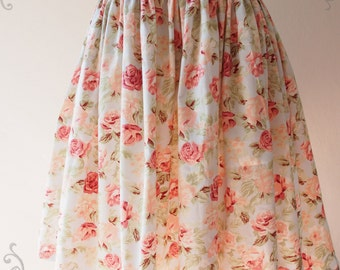 Floral Skirt Vintage Inspired Shabby Chic Skirt Blue with Pink Flower Sweet Mini Skirt -Size S-M-