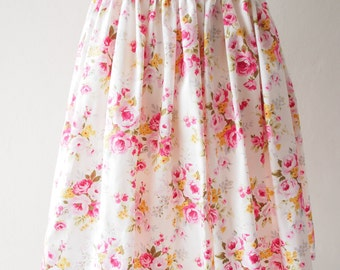 White with Pink Floral Mini Skirt Summer Skirt -Size S-M-