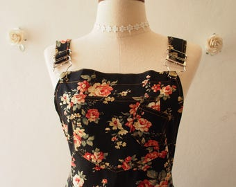 Floral Skirtall Overall Skirt Black Floral Dress Floral Overall (US6-US10)