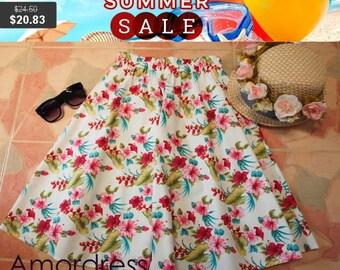 Clearance SALE Hibicus Skirt - Summer Garden Beach Time Skirt - Midi Skirt Mid Skirt - Floral Skirt - Kitsch Skirt - Dancing Skirt- Waist...