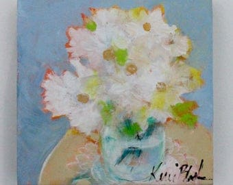 """Small Light and Cheerful Painting, Original Abstract Floral, Blue and White, Spring Colors, """"Bouquet of Daisies"""" 6x6"""""""