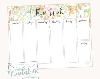 This Week Floral notepad {8.5x11}