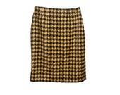 Linda Allard Ellen Tracy Yellow & Black Short Skirt, Jagged Houndstooth, Wool, Cashmere, Size 2 Vintage 80s