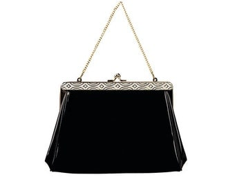 Harry Levine Black Patent Clutch with Gold Chain, White Enamel, Art Deco Design, Vintage 1950s