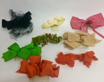 Vintage Lot Velvet Chiffon Net Bows Hair Clips Combs Fascinator 50's