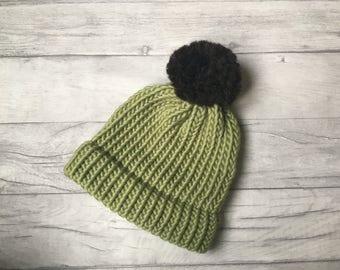 Sage green knitted hat, knitwear, skiing hat, winter hat, snowboarding hat, surfer clothing, skate beanie hat, pom pom hat, Etsy UK