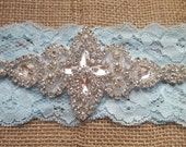 Blue wedding garter - Embellished pearl & rhinestone bridal garter