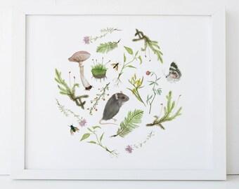 Botanical Mouse Print 11X14 Woodland Nursery Art