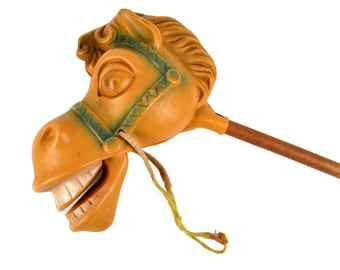 Vintage 1950s Riding Horse Stick Toy Hard Plastic Horse Head with Jointed Mouth