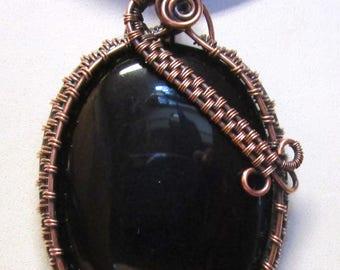Black Onyx Cabochon, Black Onyx Wrapped , Black Onyx Pendant, Black Onyx Jewelry