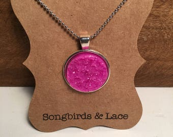 Hot Pink Druzy Pendant Necklace on silver setting- 25mm