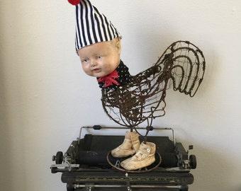 Reserved Chicken Little art doll assemblage