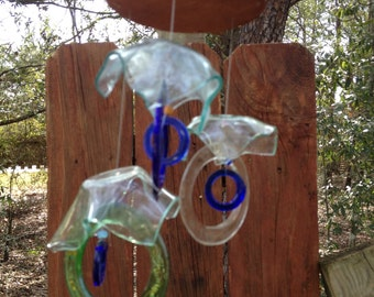 sea foam, mix rings, Glass MOBILE from RECYCLED bottles,  wind chime, garden decor, wind chimes, musical, home decor, mobile